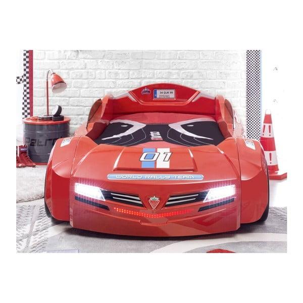 Červená dětská postel ve tvaru auta Biturbo Carbed Red, 90 x 195 cm