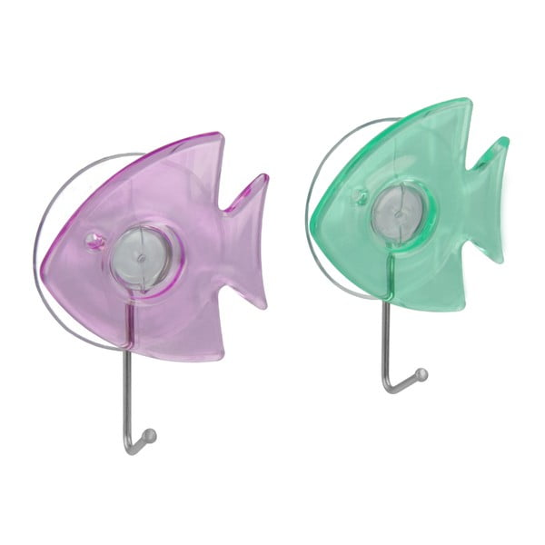 Zestaw 2 haczyków z przyssawką w kształcie rybiček Metaltex