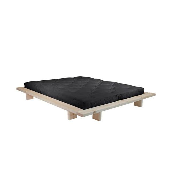 Łóżko dwuosobowe z drewna sosnowego z materacem Karup Design Japan Double Latex Raw/Black, 140x200 cm