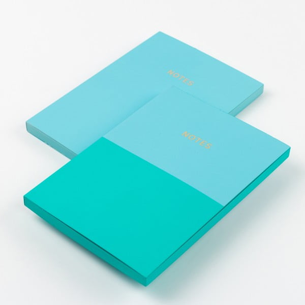 Sada 2 tyrkysově modrých zápisníků A6 GO Stationery Aqua