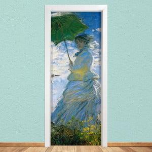 Samolepka na dveře LineArtistica Donna Con Parasole, 80 x 215 cm