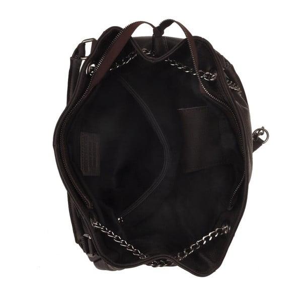 Tmavě hnědá kožená kabelka Florence Bags Meissa