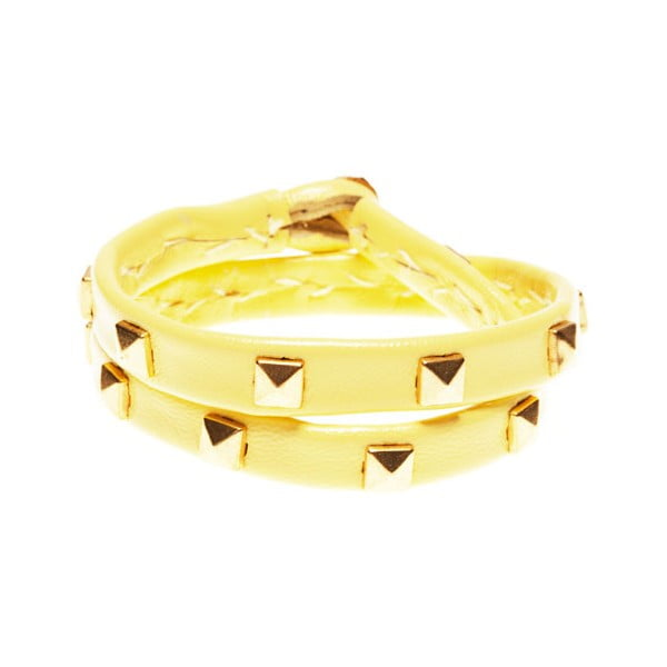 Náramek Leather stud double gold, yellow