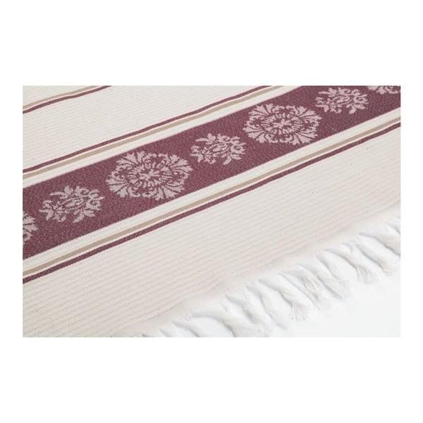 Prosop hammam Deco Bianca Loincloth Burgundy Stripe, 80 x 170 cm, vișiniu - bej