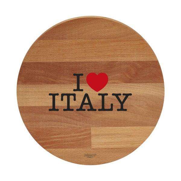 I Love Italy bükkfa tálalódeszka/vágódeszka, ø 30cm - Bisetti