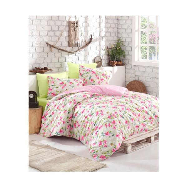 Lenjerie de pat cu cearșaf din bumbac Rosita, 200 x 220 cm