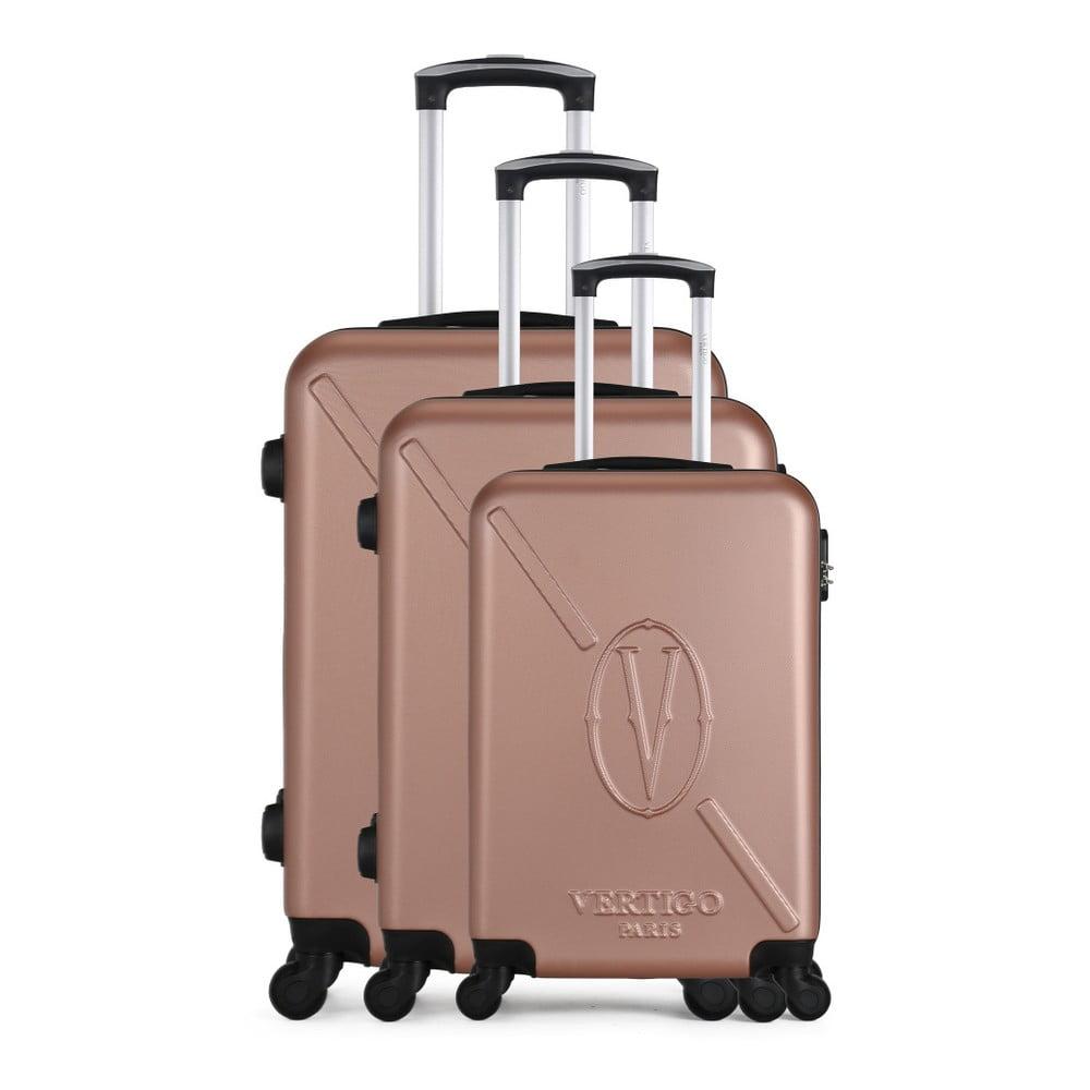 Sada 3 růžových cestovních kufrů na kolečkách VERTIGO Cadenas Integre Roues