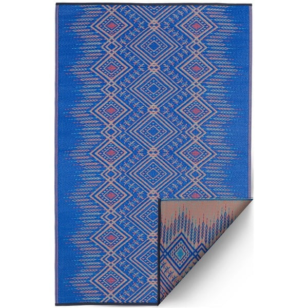 Niebieski dwustronny dywan na zewnątrz z tworzywa sztucznego z recyklingu Fab Hab Jodhpur Multi Blue, 120x180 cm