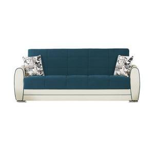 Canapea extensibilă de 3 persoane cu spaţiu de depozitare, Esidra Rest, turcoaz - crem