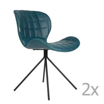 Set 2 scaune Zuiver OMG LL, albastru de la Zuiver