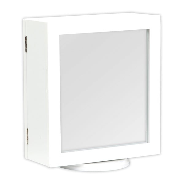 Bílý stolek se zrcadlem a úložným prostorem Mauro Ferretti Specchio, 30x35cm