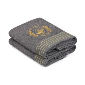 Sada dvou šedých ručníků Beverly Hills Polo Club Horses, 90x50cm