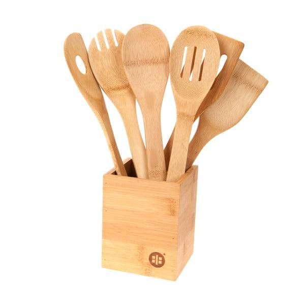 Stojánek se 6 kuchyňskými nástroji Bamboo