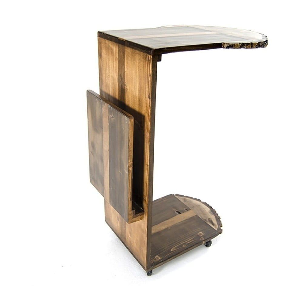 Servírovací stolek ze dřeva borovice a ořechu Tamela
