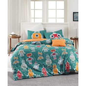 Lenjerie de pat din bumbac ranforce pentru pat de 1 persoană Mijolnir Robotte Green, 140 x 200 cm de la Mijolnir