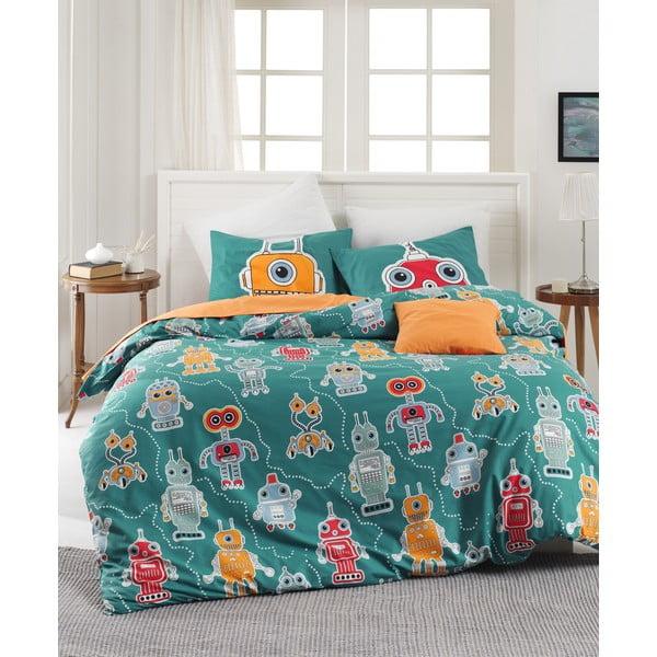 Lenjerie de pat din bumbac ranforce pentru pat de 1 persoană Mijolnir Robotte Green, 140 x 200 cm