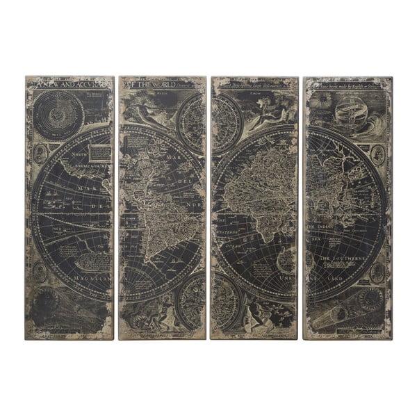 Čtyřdílná dřevěná nástěnná dekorace Mauro Ferretti Columbus Map Tenebris,240x180cm