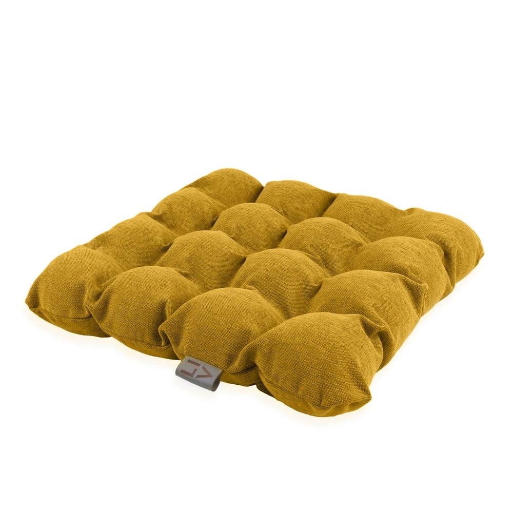 Tmavě žlutý sedací polštářek s masážními míčky Linda Vrňáková Bubbles, 45 x 45 cm