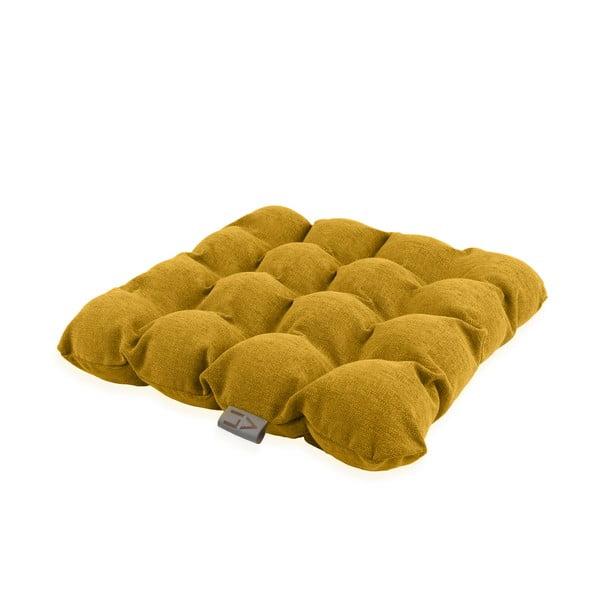 Ciemnożółta poduszka do siedzenia z piłkami do masażu Linda Vrňáková Bubbles, 45x45 cm