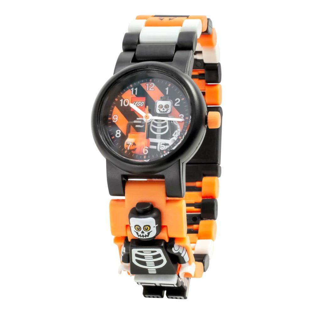Černé náramkové hodinky se skládacím řemínkem a minifigurkou LEGO® Skeleton