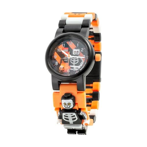 Ceas de mână cu curea pliabilă și minifigurină LEGO® Skeleton, negru