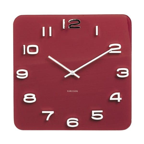 Czerwony zegar Karlsson Time Burgundy, 35x35 cm