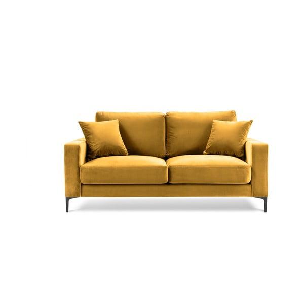 Žlutá sametová pohovka Kooko Home Harmony, 158 cm