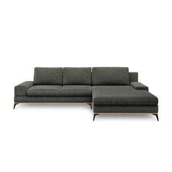 Canapea extensibilă tip colțar cu șezlong pe partea dreaptă Windsor & Co Sofas Planet, gri închis de la Windsor & Co Sofas