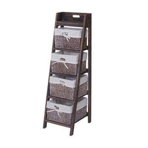 Hnědý úložný stojan s košíky Mendler Shabby Franca