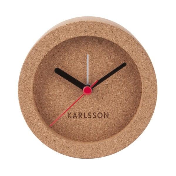 Brązowy korkowy zegar stołowy z budzikiem Karlsson Tom