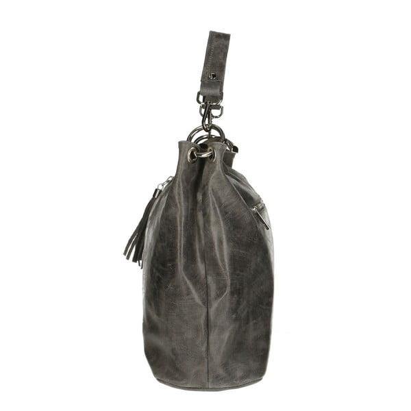 Šedá kožená kabelka Chicca Borse Pendella