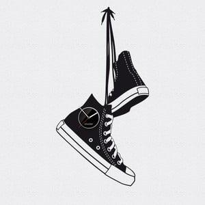 Hodiny se samolepkou Shoes, černá