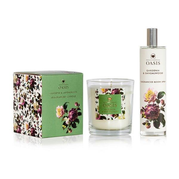 Komplet świeczki i spreju do wnętrz gardenii i sandałowca Bahoma London Oasis Renaissance