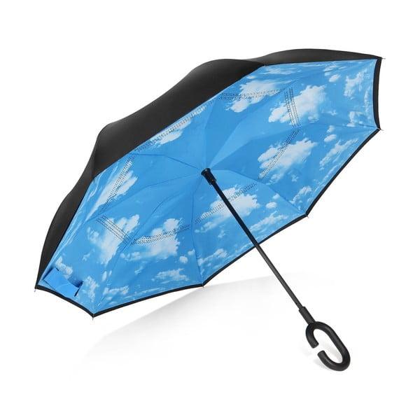 Umbrelă reversibilă Ambiance Cloud, ⌀ 107 cm, negru-albastru