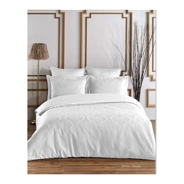 Lenjerie de pat din bumbac satinat și cearșaf Damask, 200 x 220 cm, alb
