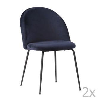 Set 2 scaune cu picioare negre House Nordic Geneve, albastru de la House Nordic