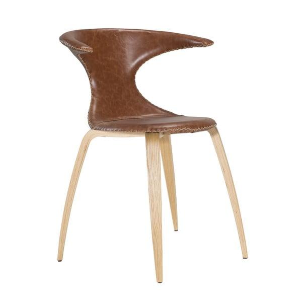 Brązowe krzesło skórzane z drewnianymi nogami DAN–FORM Flair