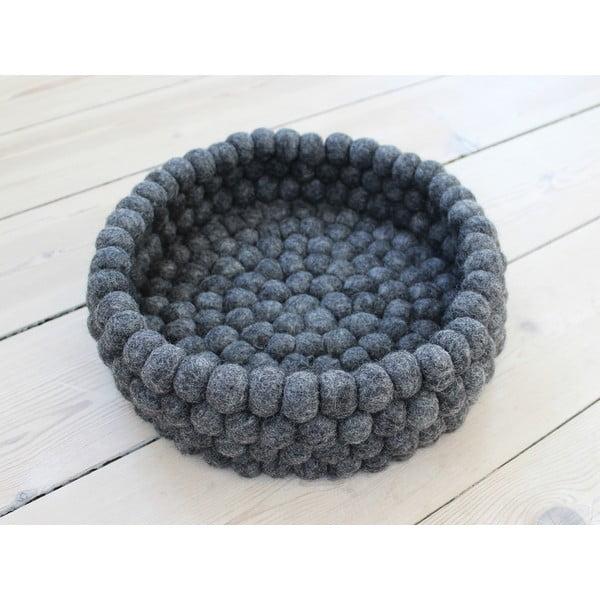 Antracitový kuličkový vlněný úložný košík Wooldot Ball Basket, ⌀ 28 cm