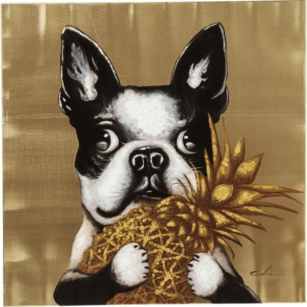 Tablou Kare Design Touched Dog with Pineapple, 80 x 80 cm