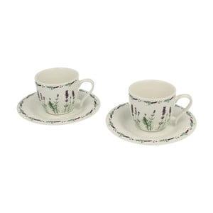 Set 2 porcelánových hrnků s podšálky Duo Gift Lavender