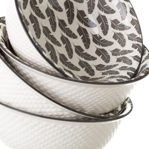 Šedobílá porcelánová miska Unimasa Plume, průměr16,3cm