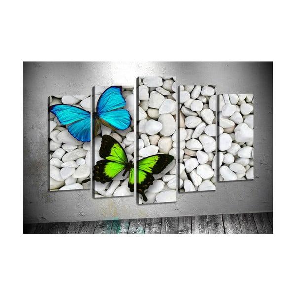Sada 5 obrazů Tablo Center Two Butterflies