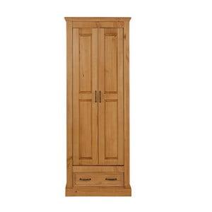Hnědá dvoudveřová šatní skříň z masivního borovicového dřeva Støraa Suzie