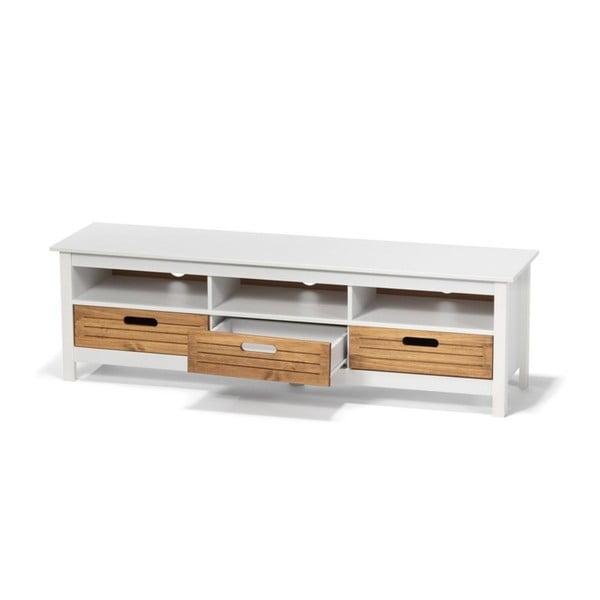 Bílá TV komoda z borovicového dřeva se 3 šuplíky loomi.design Ibiza