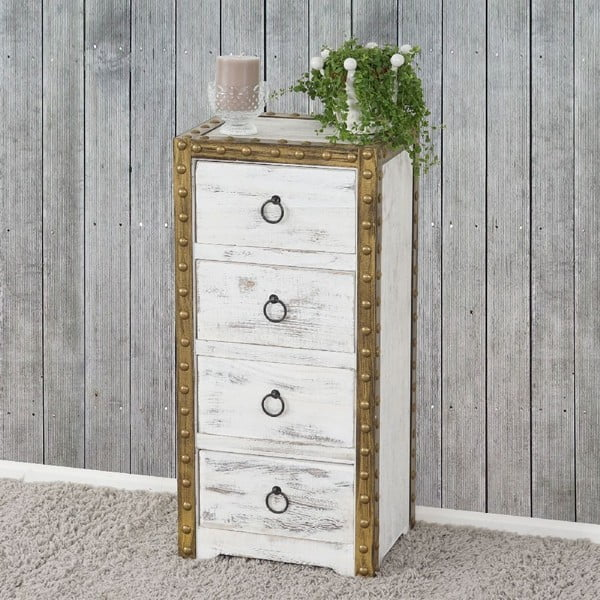 Bílá dřevěná skříňka Mendler Shabby Ambato