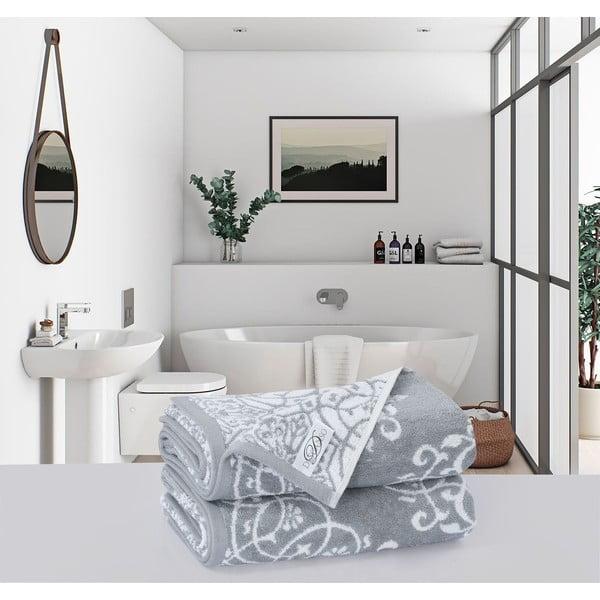 Sada 2 bavlnených osušiek Muller Textiels Rassano Duro Gris, 70 × 140 cm