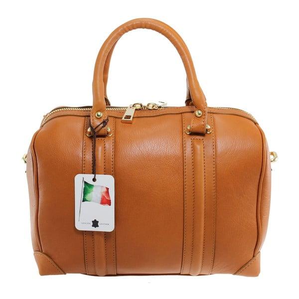 Karamelová kožená kabelka Boston