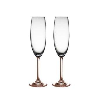 Set 2 pahare de șampanie din cristal Bitz Fluidum, 220 ml, roz de la Bitz