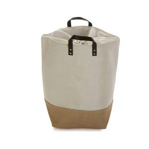 Krémovo-hnědý úložný koš na prádlo Versa Home