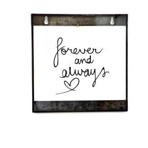 Skleněná tabulka s nápisem Live Forever, 20x20 cm